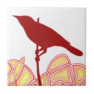Pájaro Azulejo Cuadrado Pequeño