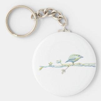 Pájaro bendecido en una rama llavero redondo tipo pin