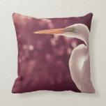 pájaro blanco del egret en el tinte correcto de Bo Almohadas
