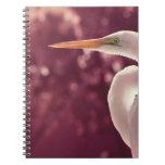 pájaro blanco del egret en el tinte correcto de Bo Libreta