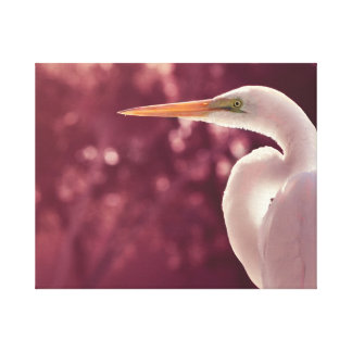 pájaro blanco del egret en el tinte correcto de Bo Impresión En Tela
