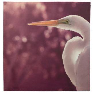 pájaro blanco del egret en el tinte correcto de Bo Servilleta