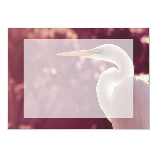 """pájaro blanco del egret en el tinte correcto de invitación 5"""" x 7"""""""