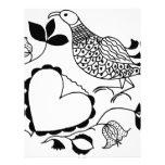 Pájaro blanco y negro plantilla de membrete