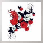 pájaro blanco y negro rojo y vector precioso de la impresiones