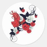 pájaro blanco y negro rojo y vector precioso de etiquetas redondas
