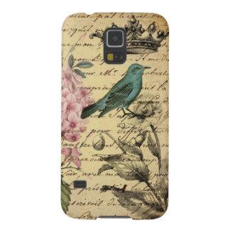 Pájaro botánico del francés del hydrangea del arte funda galaxy s5