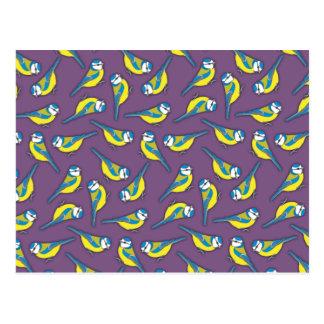 Pájaro británico de Bluetit en púrpura Postal