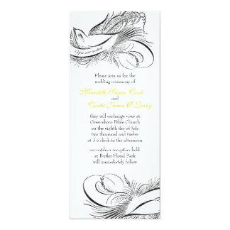 Pájaro caligráfico invitación 10,1 x 23,5 cm