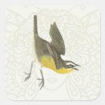 Pájaro cantante Amarillo-breasted de la charla Calcomania Cuadrada Personalizada