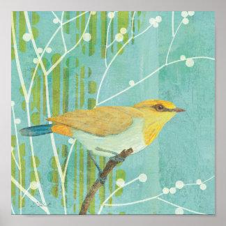 Pájaro cantante del cielo azul póster