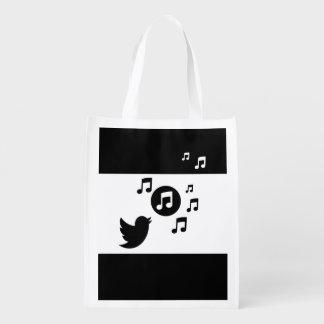 Pájaro cantante elegante blanco y negro bolsas para la compra