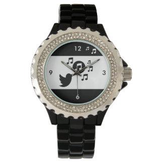 Pájaro cantante elegante blanco y negro reloj
