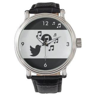 Pájaro cantante elegante blanco y negro relojes de mano