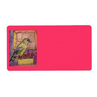 pájaro cantante en bosquejo de la caja de ventana etiqueta de envío