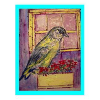 pájaro cantante en bosquejo de la caja de ventana tarjetas postales