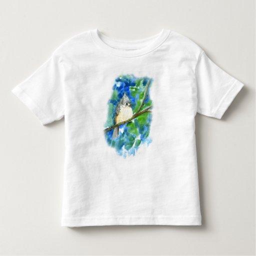 Pájaro cantante - fondo de la acuarela del playera