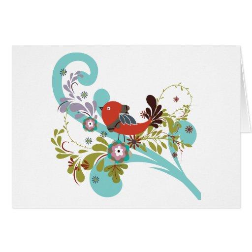 Pájaro cantante rojo del ~ del pájaro que se tarjeta de felicitación