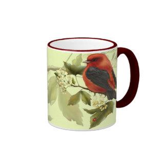 Pájaro cantante rojo tazas