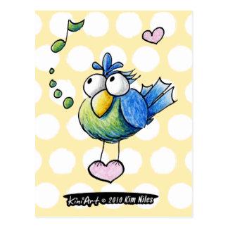 Pájaro cantante tarjeta postal