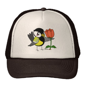 Pájaro Carbonero con una flor. Gorra
