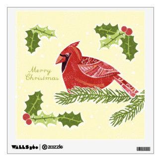 Pájaro cardinal de las Felices Navidad en rama con