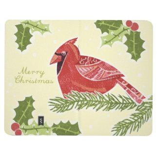 Pájaro cardinal de las Felices Navidad en rama con Cuadernos