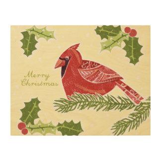 Pájaro cardinal de las Felices Navidad en rama con Impresión En Madera