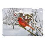 Pájaro cardinal en la nieve