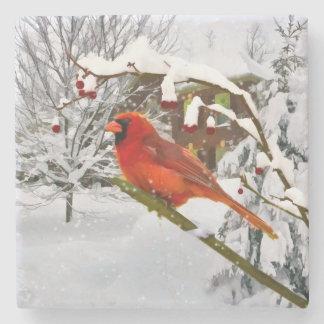 Pájaro cardinal en la nieve posavasos de piedra