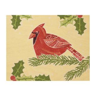 Pájaro cardinal en rama con el navidad Desig del Cuadros De Madera