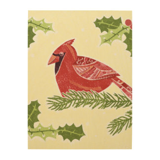 Pájaro cardinal en rama con el navidad Desig del Impresiones En Madera