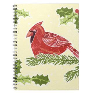 Pájaro cardinal en rama con el navidad Desig del Libros De Apuntes
