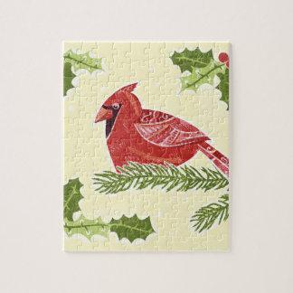Pájaro cardinal en rama con el navidad Desig del Puzzle Con Fotos