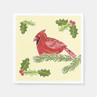 Pájaro cardinal en rama con el navidad Desig del Servilleta De Papel