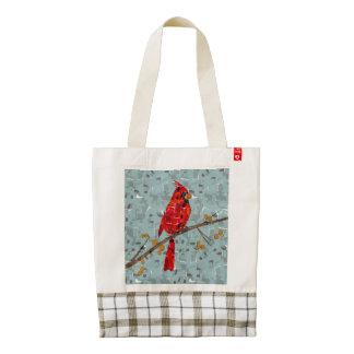 Pájaro cardinal en un collage de la rama bolsa tote zazzle HEART