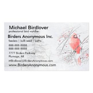 Pájaro cardinal masculino del invierno de Birding Tarjetas De Visita