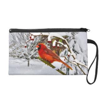 Pájaro cardinal, nieve, invierno, bolso del mitón
