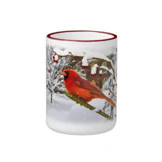 Pájaro cardinal, nieve, invierno, taza