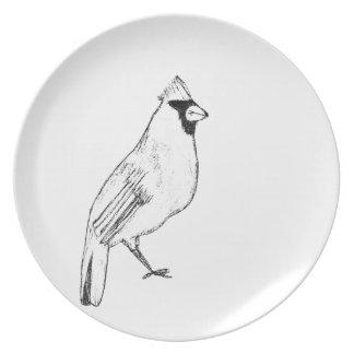 Pájaro cardinal platos de comidas