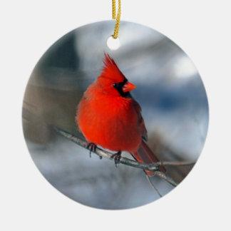 Pájaro cardinal rojo adorno navideño redondo de cerámica