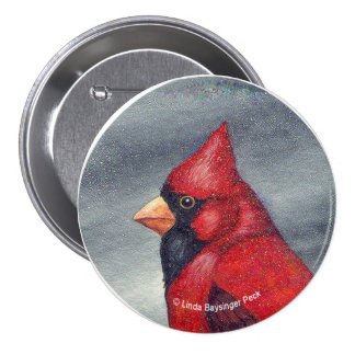 Pájaro cardinal rojo redondo pin redondo de 3 pulgadas