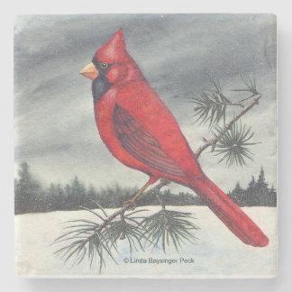 Pájaro cardinal septentrional rojo posavasos de piedra