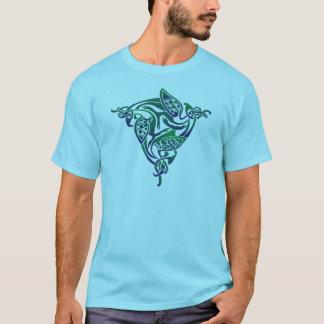 Pájaro céltico azul y verde playera