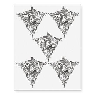 Pájaro céltico blanco negro tatuajes temporales