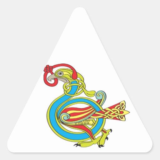 Pájaro céltico pegatinas triangulo personalizadas