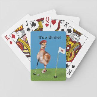 Pájaro chistoso que juega a golf baraja de cartas