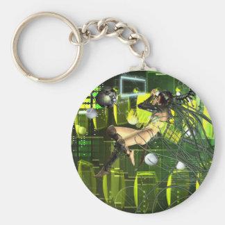 Pájaro cibernético llavero redondo tipo pin