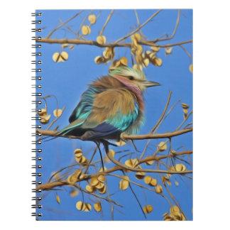 Pájaro coloful hermoso en un árbol libro de apuntes con espiral