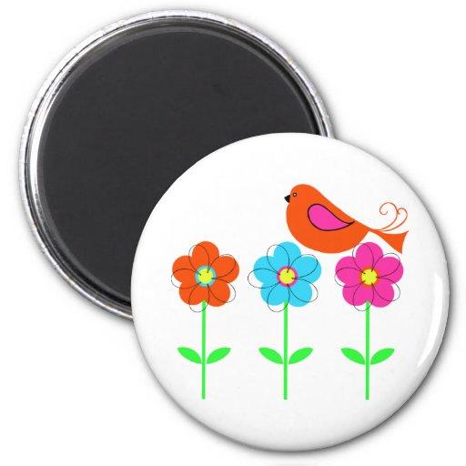 pájaro colorido con las flores coloridas imán redondo 5 cm